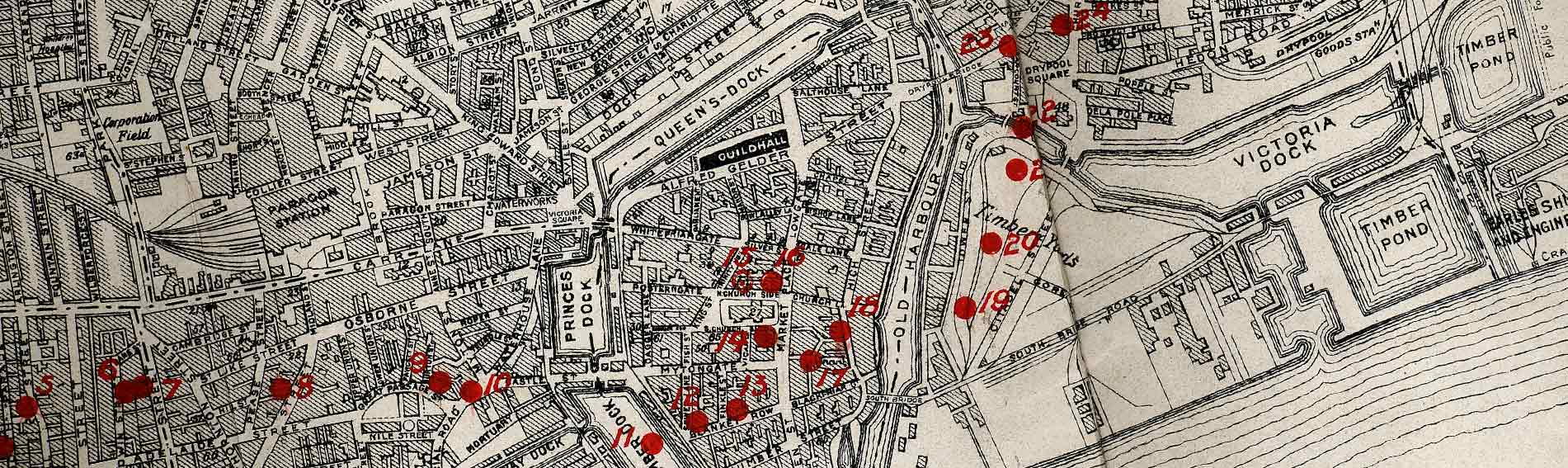 Detail from a bomb map from 1915